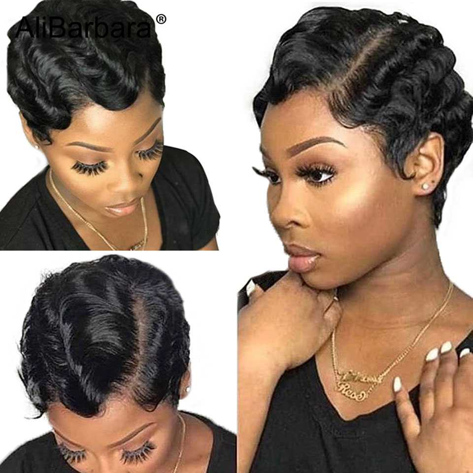 Pixie Cut Ocean Wave Red Short Human Hair Wigs For Black Women Brazilian Finger Wave Wig Remy Colored 99J Human Hair Full Wigs