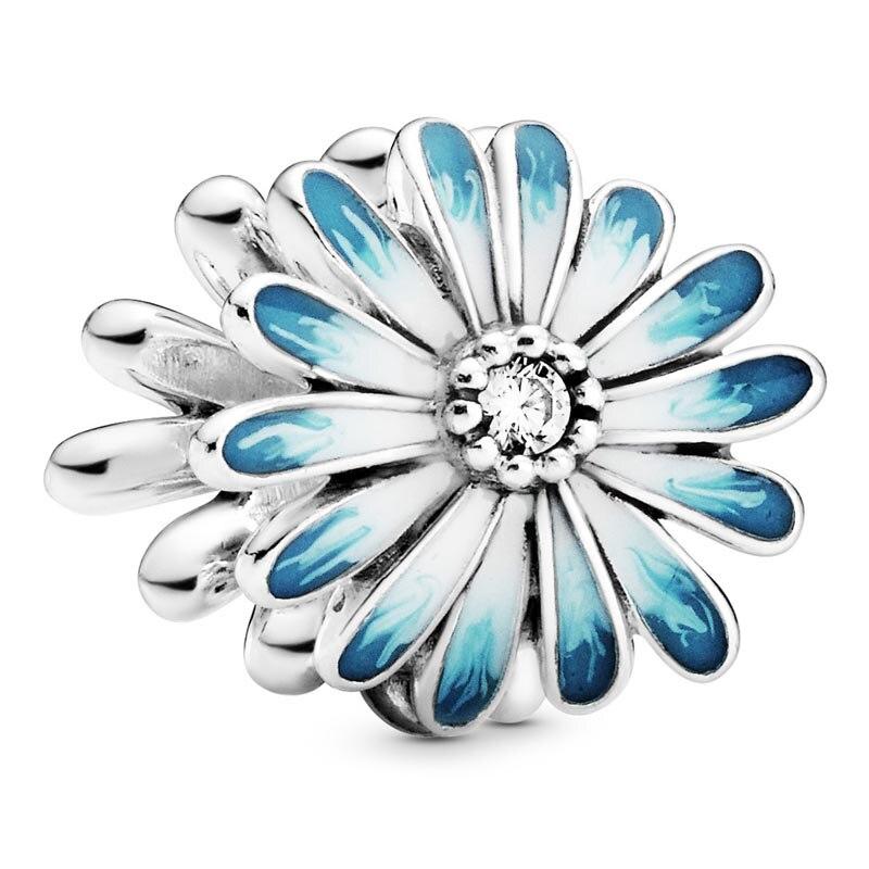 Nuevo abalorio de plata de ley 925, flor de Margarita azul con cuentas de cristal compatible con pulsera Pandora, brazalete, joyería DIY Pegatina de pared de nube de arco iris colorida DIY, calcomanías de arte para habitación de bebés y niños, papel tapiz decorativo para casa o guardería