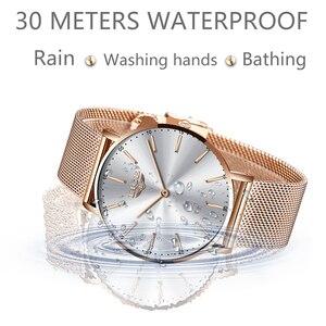 Image 2 - LIGE ผู้หญิงนาฬิกาผู้หญิง 2020 แฟชั่นสุภาพสตรีนาฬิกาข้อมือ Casual Grid สายคล้องเหล็ก Ultra บางนาฬิกาควอตซ์ผู้หญิง Relogio Feminino