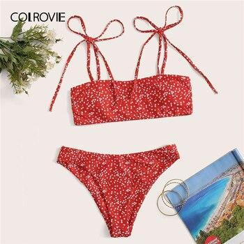 Colrovie 赤頭が変な花ネクタイショルダービキニ水着 2020 水着女性かわいいセクシーなビキニセットビーチ水着
