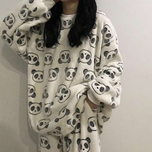 2020 Autumn Winter Warm Flannel Women Pyjamas Sets Thick Coral Velvet Long Sleeve Cartoon Sleepwear Flannel Pajamas Set Girl