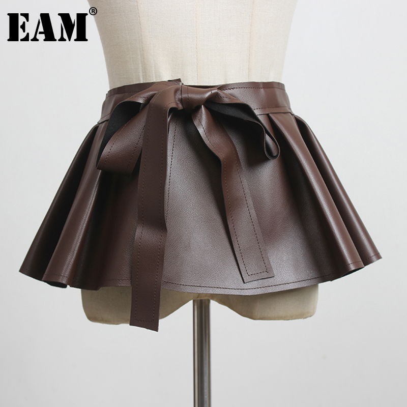 [EAM]  Flounced Black Bandage Pu Leather Wide Belt Personality Women New Fashion Tide All-match Spring Autumn 2021 1DD3055