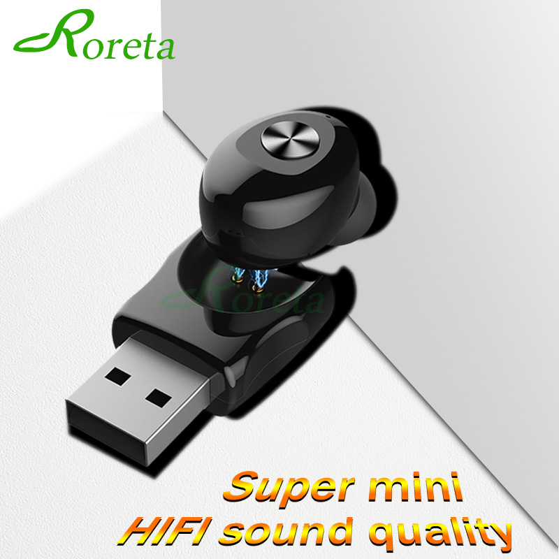 Roreta Mini Wireless Earphone Bluetooth 5.0 Handsfree Call Noise Cancelling Headset With Microphone Earbuds Earphones For IPhone