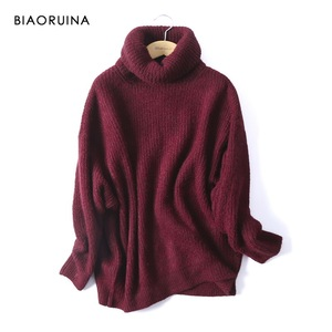 Image 5 - BIAORUINA Women Oversize Basic Knitted Turtleneck Sweater Female Solid Turtleneck Collar Pullovers Warm 2020 New Arrival