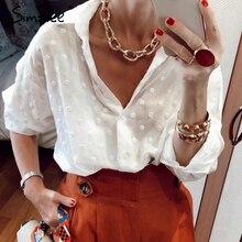 Simplee rahat plaj tarzı katı beyaz kadın bluz gömlek uzun kollu v yaka kadın üst gömlek yaz streetwear kadın gömleği