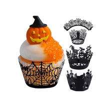 12pcs Halloween Cupcake Wrapper Baking Cup Hollow Paper Cake Witch Spiderweb Castle Party Decoration Supplies