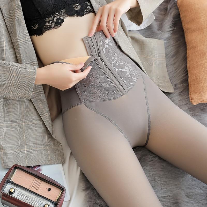 Women Warm Winter Sexy Leggings Women's Gray Velvet Leggings Winter High Waist Thick Super Elastic Pants Women Double-breasted