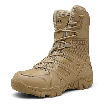 Brand Men High Quality Brand Military Leather Boots Special Force Tactical Desert Combat Men's Boots Outdoor Shoes Ankle Boots