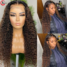 KUNGANG Highlight 13*4 Lace Wigs Curly Human Hair Wigs Brazilian Front Wigs 150% Density With Baby Hair Non-Remy