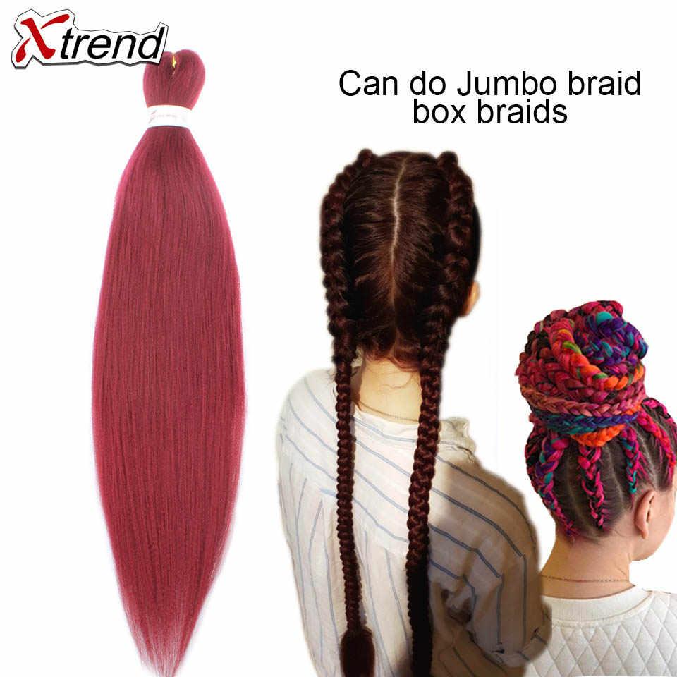 Xtrend Pre estirado trenza de pelo Jumbo fácil trenza color degradado sintético EZ extensión de cabello de ganchillo fibra de baja temperatura