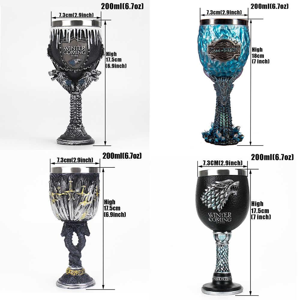 Oyun Thrones Gourde ortaçağ kadehi Viking bira kupası Viking boynuz içme boynuz cadılar bayramı süs hediye kafatası kupa kahve fincanı