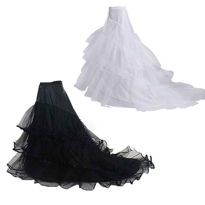 3-layer Yarn 2-hoops Bride Wedding Dress Long Trailing Skirt Petticoat Elastic Waist Drawstring Adjustable Fishtail Slip Skirts