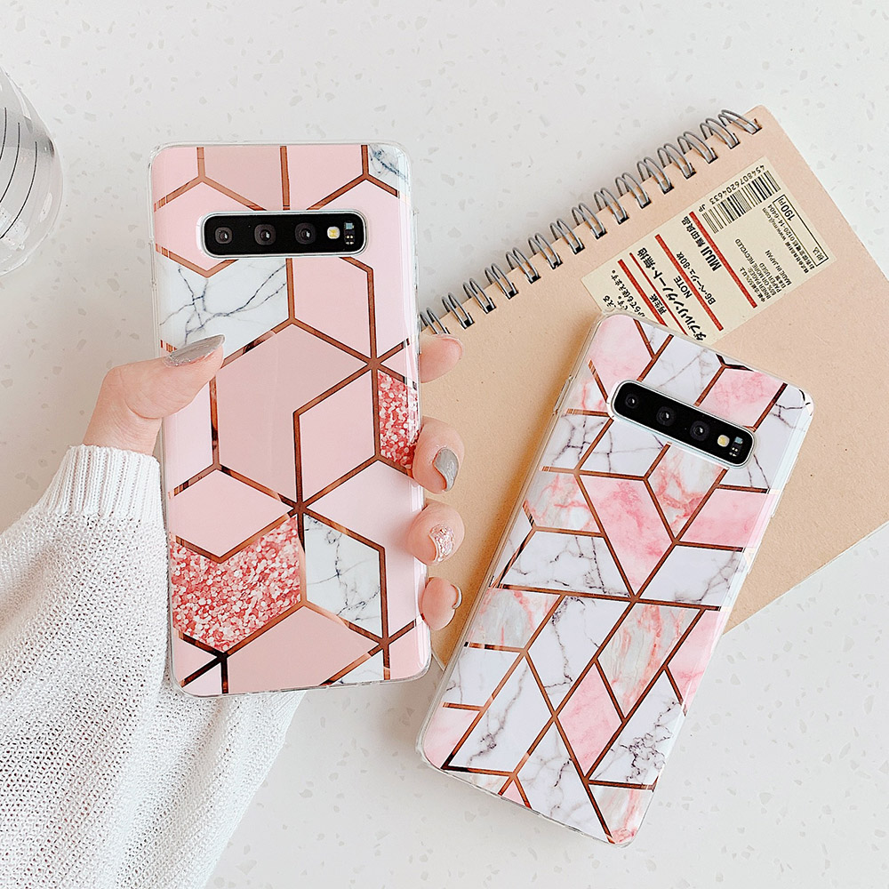 Plating Geometric Marble Phone Case For Samsung Galaxy S20 A50 A51 S10e S10 S8 S9 Plus Note 10 Soft IMD Phone Back Cover