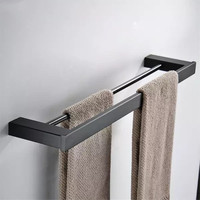 LIUYUE Towel Bars Stainless Steel Black Wall Mounted Towel Double Bars Fashion Towel Holder Bathroom Towel Storage Rack Hardware