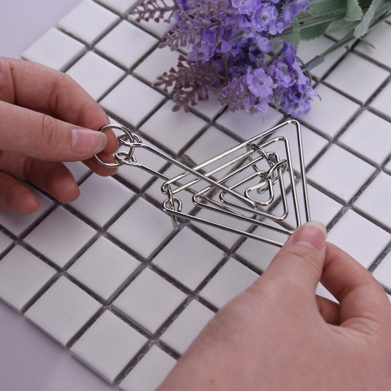 Metal Ring Toys Challenging Metal Wire Puzzle Brain Teaser Game Fine Triangle Ring  For Adults Kids Classical Educational Toys