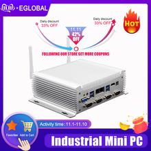 Eglobal G سلسلة الصناعية بدون مروحة كمبيوتر صغير Win10 إنتل i7 i5 i3 2955U 2 * إنتل Lans 6 * COM USB كمبيوتر مصغر لينكس 4G واي فاي HDMI