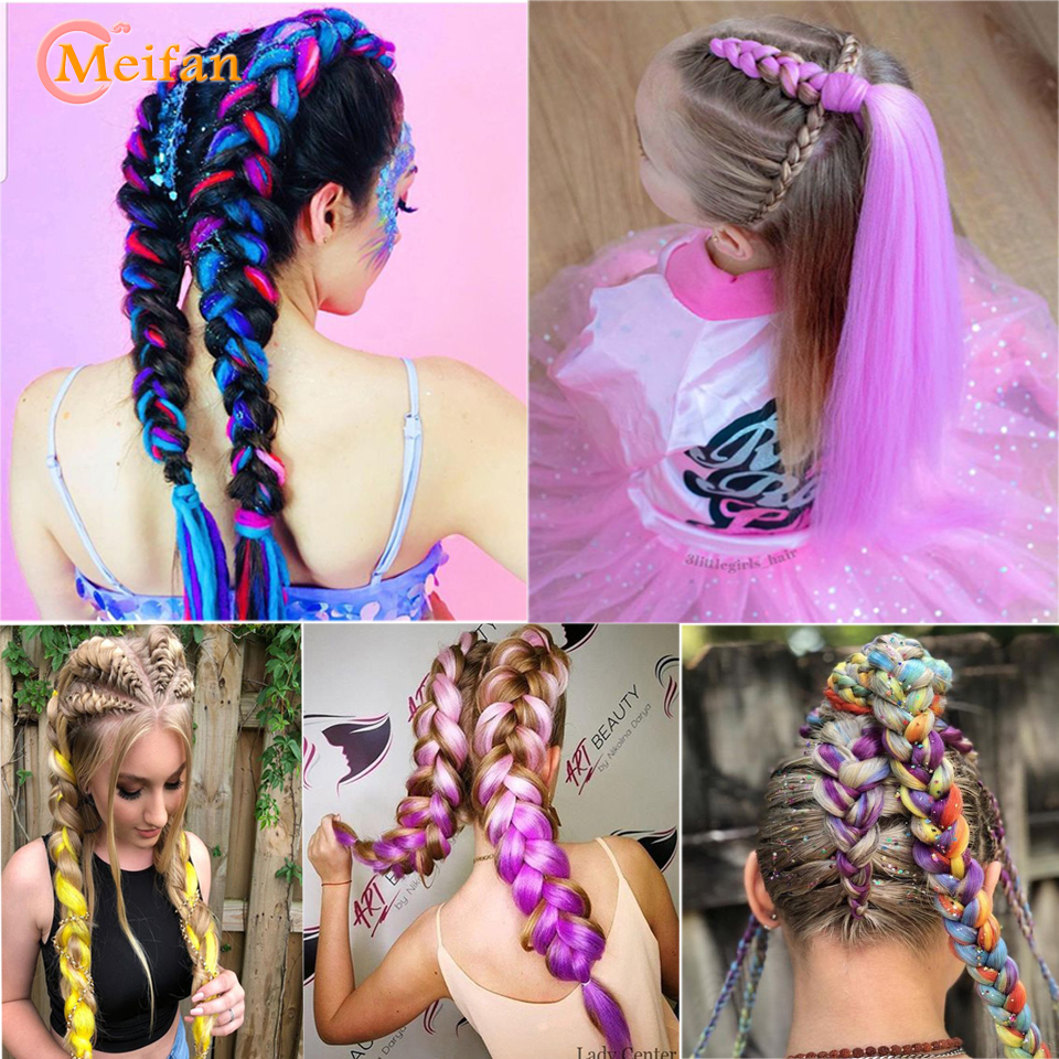 MEIFAN 24 Inch Synthetic Fake Kanekalon Briads For Braiding Hairstyles Crochet Braids Hair Ombre Hair Extensions Pink Red Blue