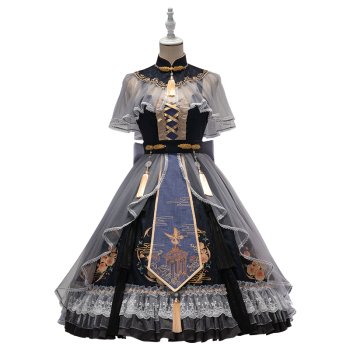 UWOWO Lolita Original Dress Design Misty Garden Chinoiserie Cosplay Costume Outfits Women's Clothing & Accessories cb5feb1b7314637725a2e7: ACC A Overskirt|ACC B Bowknot|ACC C|Dress|Full Set