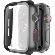 Funda completa para Apple Watch Series 5 4 3 2 iWatch, carcasa de Marco duro de plástico mate con Protector de pantalla de película de vidrio, accesorio