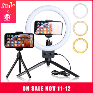 Image 1 - 9inch Mini LED Video Selfie Ring Light With Tripod Ring lamps For YouTube Phone Live Photo Photography studio Ringlight