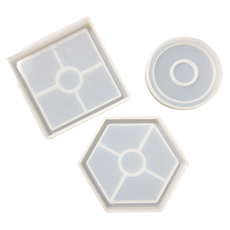 3pcs//Sets Coaster Cup Mat Mold Round Silicone Mould for DIY Epoxy Resin Casting