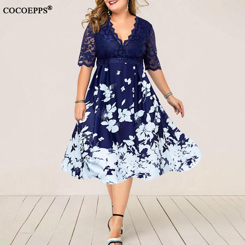 5XL <font><b>6XL</b></font> 2020 Women Plus size Lace Stiching <font><b>Dress</b></font> <font><b>Sexy</b></font> V Neck Floral Printing A Line <font><b>Dress</b></font> Blue Female Large Size Party Vestidos image