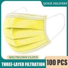 Máscara protetora descartável de 3 dobras não tecida plissada anti máscara de poeira moda cor amarela respirável máscara protetora para a proteção do germe