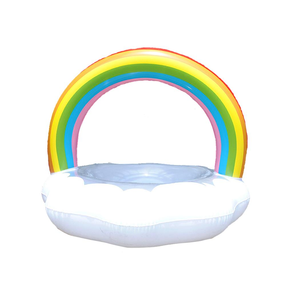 Rainbow Inflatable Float Swimming Ring For Children Pool Party Water Toys Ride-On Air Mattres Swimming Ring