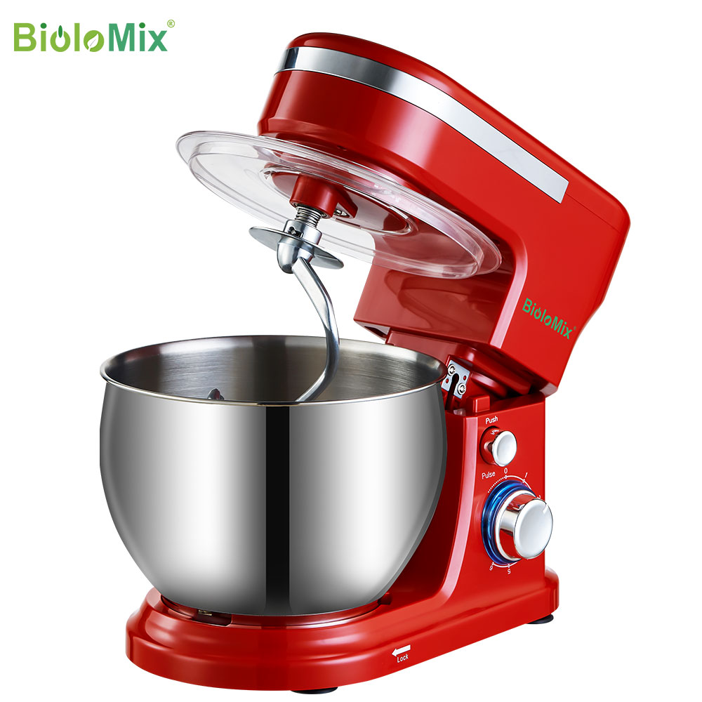 BioloMix 1200W  5L Stainless Steel Bowl 6 speed Kitchen Food Stand Mixer Cream Egg Whisk Whip Dough Kneading Mixer Blender|Food Mixers|   - AliExpress