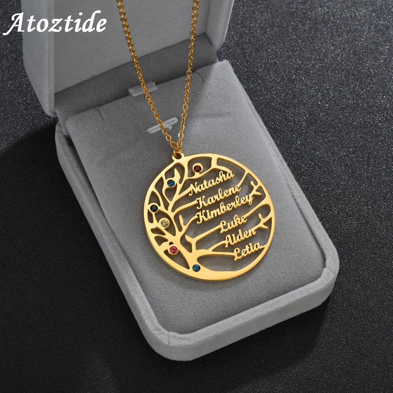 Leben Baum Familie 1-6 Namen Halskette Personalisierte Edelstahl Goldene Typenschild mit Birthstone Für Frauen Männer Geburtstag Geschenk