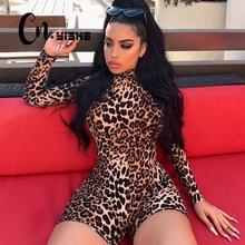 Playsuit Romper Tiger Leopard Turtleneck Long-Sleeve Streetwear Print Sexy Casual Fashion