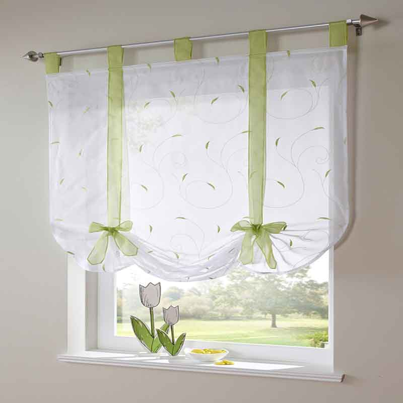 1pcs Luxury Ribbon Pastoral Roman Curtain Embroidered Floral Window Curtains Short Sheer Tulle Voile for Living Room Kitchen|curtains sheers|curtains embroided|floral window curtains - title=