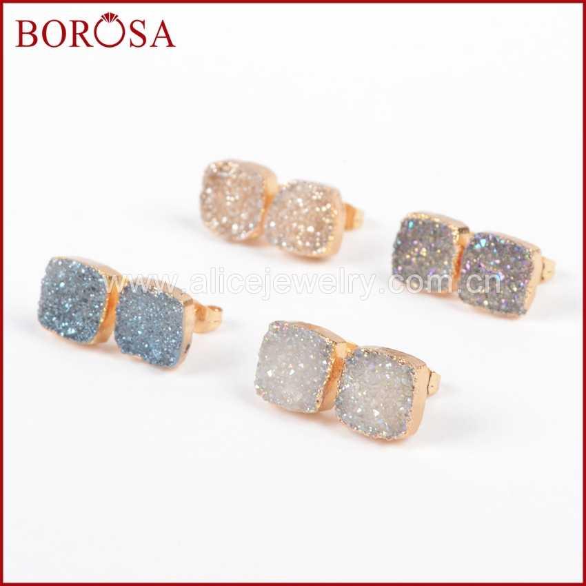 BOROSA 1 คู่ Druzy ต่างหูทองสีสแควร์หินไทเทเนียมสตั๊ดต่างหูแฟชั่นสตั๊ด 10 มม.เครื่องประดับสำหรับผู้หญิง g0914