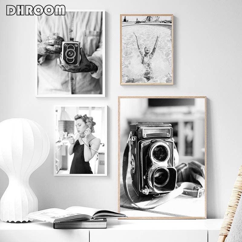 Moda kız posteri siyah beyaz tuval baskı eski kamera duvar sanatı boyama Minimalist sanat resim Modern ev dekorasyonu