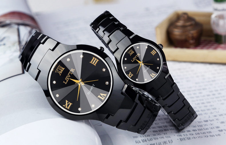 Round Glass Tungsten Steel Color Unisex Casual Business Couple Quartz Watch