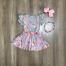 Frühjahr/Sommer Ostern outfit lavendel bunny ärmeln blume rock baby kinder tragen boutique kleidung spiel zubehör knie länge