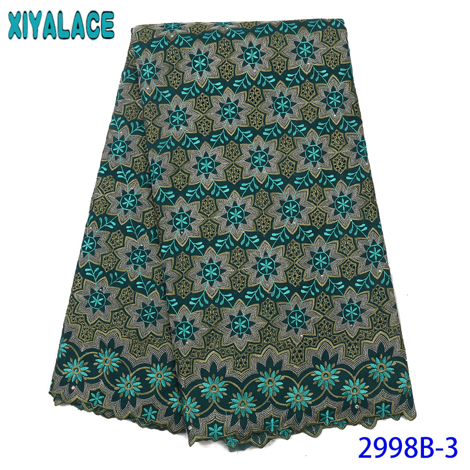 2019 Swiss Voile Lace High Quality African Lace Fabric French Cotton Lace Embroidery Laces With Stones For Women KS2998B
