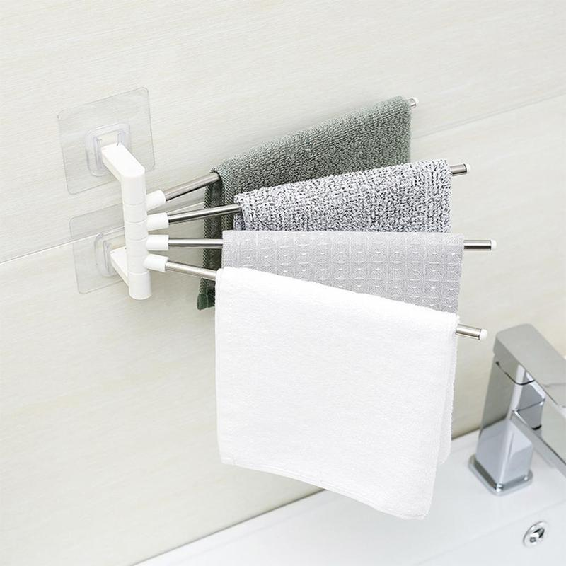 1pc Anti-rust Stainless Stainless Steel Rotating Towel Rack Bath Rail Hanger Towel Holder 4 Swivel Bars Bathroom Wall Mounted