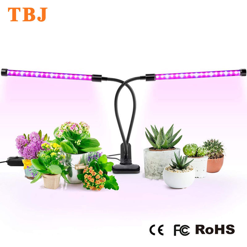 Grow Light 20W Dual Head Plant Lamp with 36 LED Red/Blue Dimmable Flexible Gooseneck Desktop USB Grow Light for Plants Flower
