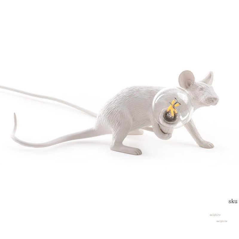 Lámpara de mesa de rata italiana, accesorios de mesilla de noche para dormitorio, lámpara de ratón, decoración de boda, luz de mesa, regalos para niños, Luminaria dorada