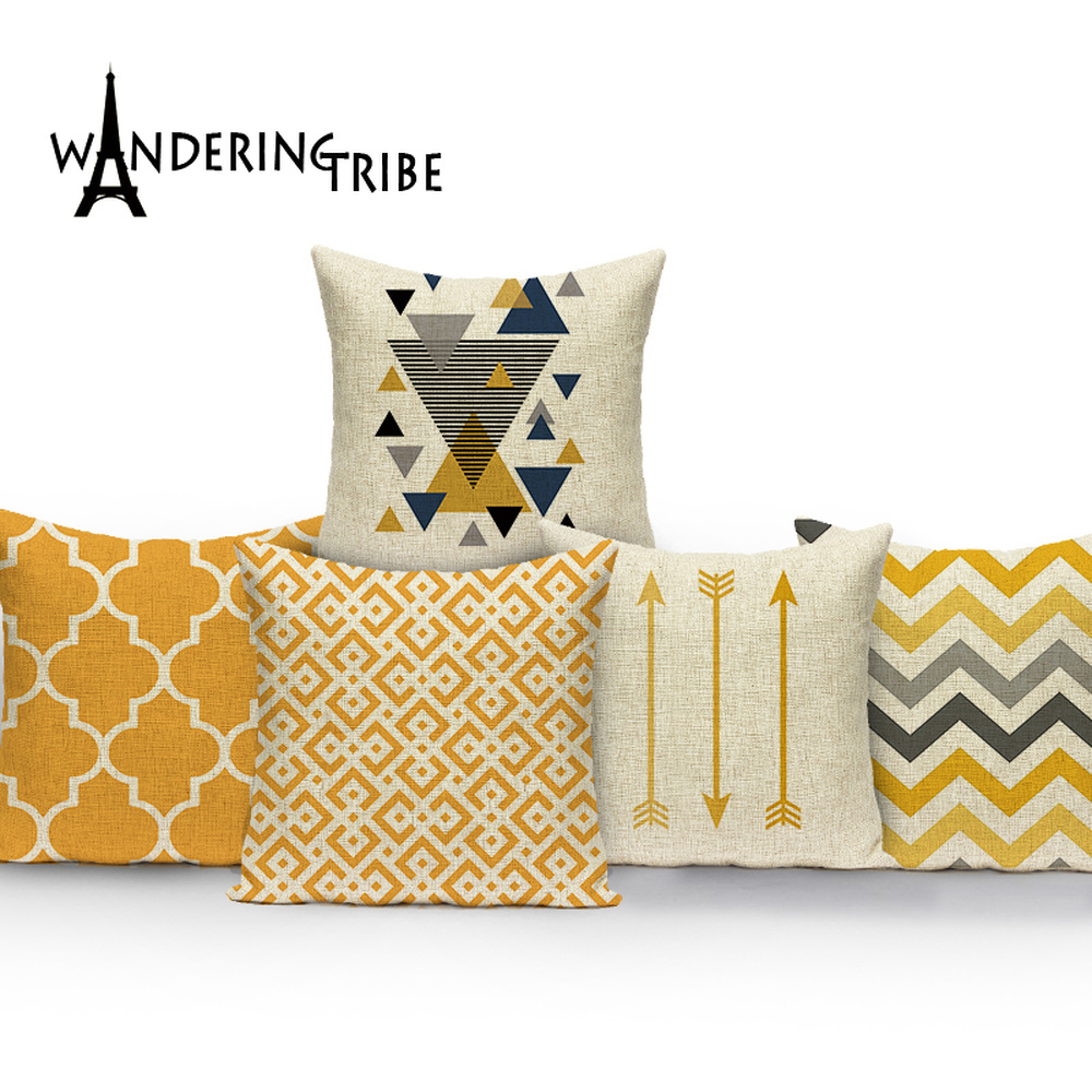 Nordic Simple Cushions Case Yellow Stripe Home Decorative Pillow Cases Line Cushion Covers Pillows Covers Sofa Bed Cushion Cover