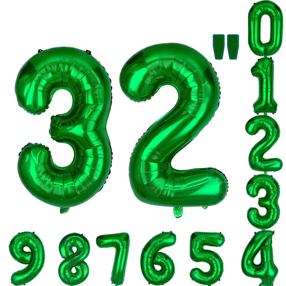 1pc 32 40 Fruit Green Number Digit 0 1 2 3 4 5 6 7 8 9 Foil Balloons 2020 New Year Anniversary Age Birthday Party Decorations image