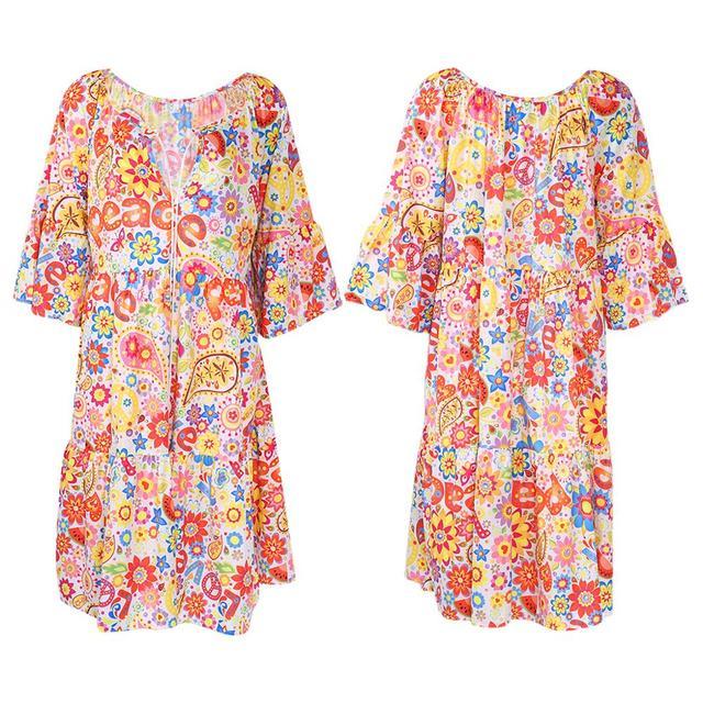 Women's Floral Long Sleeve Dress Sizes S-5XL