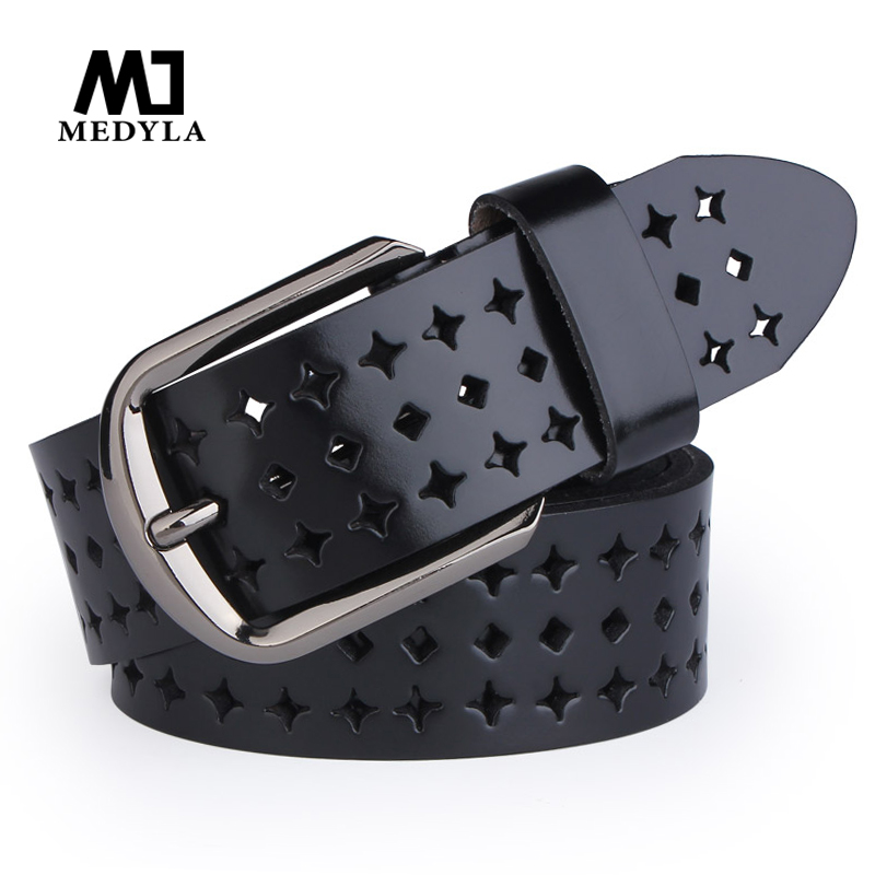MEDYLA Woman Belts Hot Sale Hk Cutout Strap Female Genuine Leather Cowhide Belt Hollow Out Belts For Lady Jeans Waistband