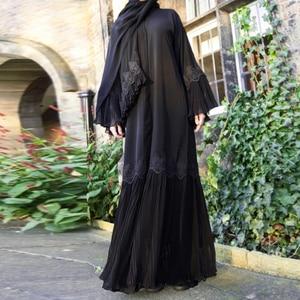 Opened Abaya Kimono Kaftan Pleated Muslim Cardigan Hijab Dress Abaya female Turkish Islamic Clothing Caftan Dubai Djellaba F1848