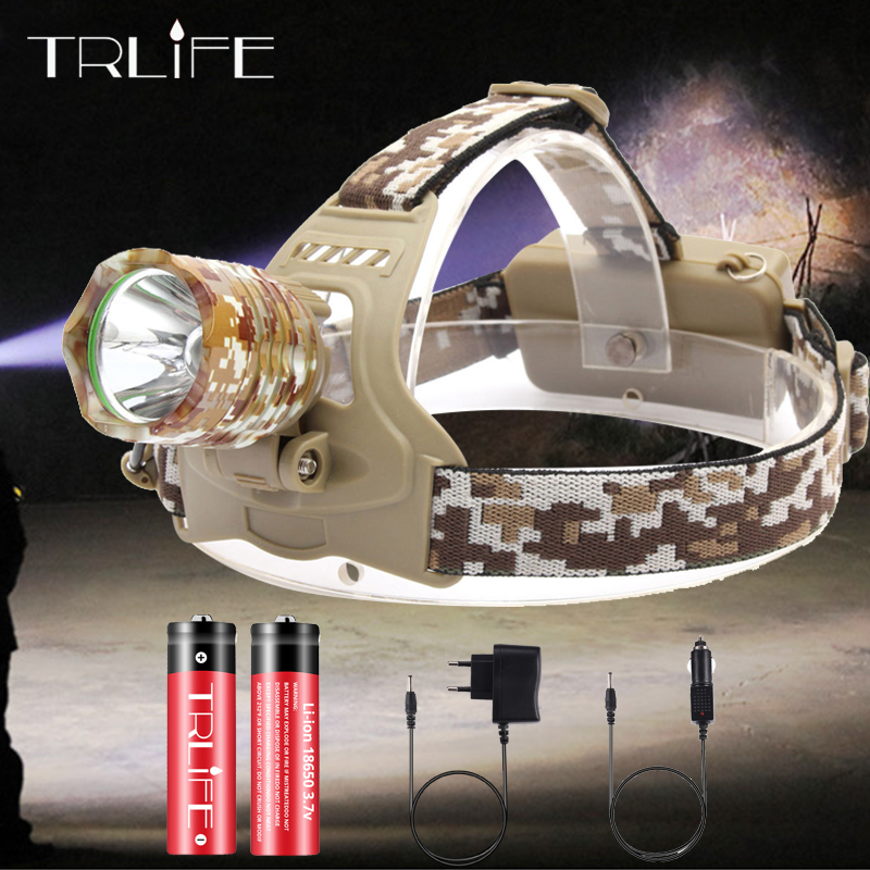 Hunting Headlamp 5000LM T6 Led Headlight Camouflage Head Lamp Rechargeable Lantern Lamp Camping Hiking Fishing Light