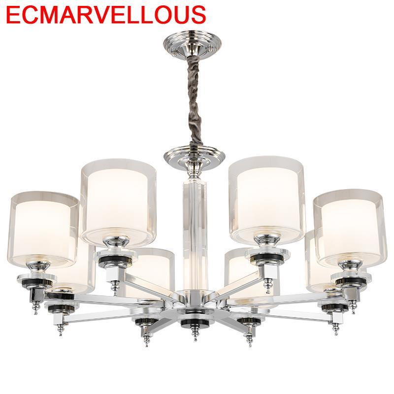 Kitchen Lampara De Techo Colgante Moderna Crystal Deco Maison Suspension Luminaire Hanging Lamp Lampen Modern Pendant Light
