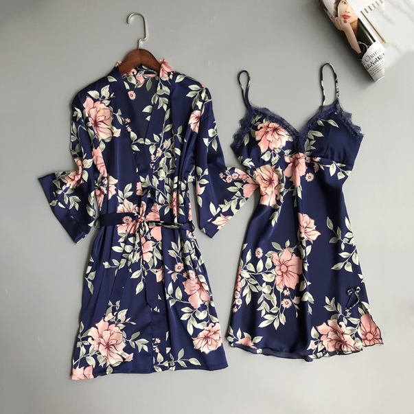 Sexy Lady Women Satin Short Kimono Robe Nightgown Bathrobe Print Floral Sleepwear Soft Robe Wedding Bride Bridesmaid Bathrobe