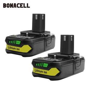 Image 1 - Bonacell 18V 3000mAh P107 Batterie Ersatz für Ryobi P104 P105 P102 P103 P107 Cordless Li Ion Batterie L50