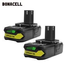Bonacell Batteria di Ricambio per Ryobi 18V 3000mAh P107 P104 P105 P102 P103 P107 Cordless Li Ion Batteria L50